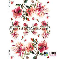 Hartie de orez A4 - Trandafiri in acuarela