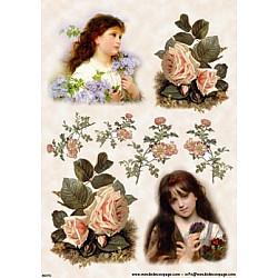 Hartie de orez - Fetite si trandafiri