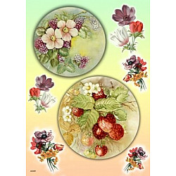 Hartie de orez - Flori si fructe de padure