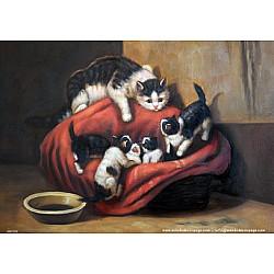 Hartie de orez - Pisica cu pui