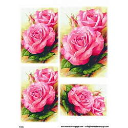 Hartie de orez - Trandafiri roz