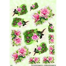 Hartie de orez - Trandafiri roz si scrisori