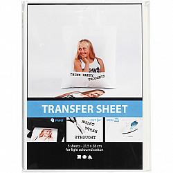 Hartie de transfer, 21,5x28 cm, alb, pentru textile deschise la culoare,  5 coli