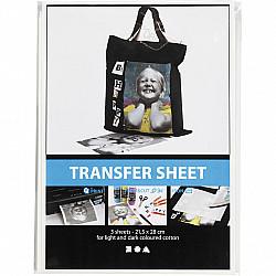 Hartie de transfer, 21,5x28 cm, alb, pentru textile deschise si inchise la culoare, 3 coli