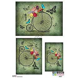 Hartie decoupage A4 - Bicicleta vintage