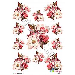 Hartie decoupage A4 - Buchete cu magnolii