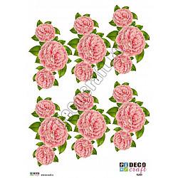 Hartie decoupage A4 - Buchete roz