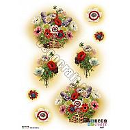 Hartie decoupage A4 - Cos cu flori de camp