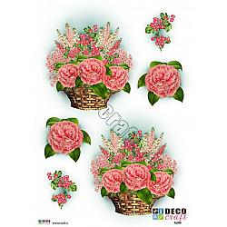 Hartie decoupage A4 - Cos cu flori roz