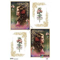 Hartie decoupage A4 - Fetita cu roze in par