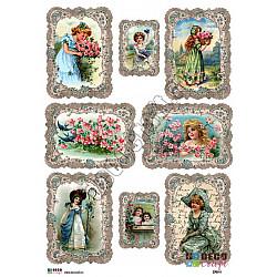 Hartie decoupage A4 - Fetite si flori