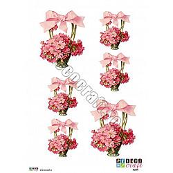 Hartie decoupage A4 - Floricele roz