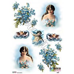 Hartie decoupage A4 - Ingeri cu flori albastre