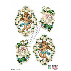 Hartie decoupage A4 - Ingeri cu trandafiri albi