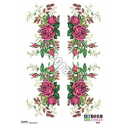 Hartie decoupage A4 - Ornament cu trandafiri