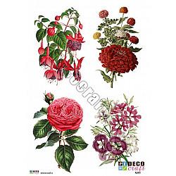 Hartie decoupage A4 - Patru flori