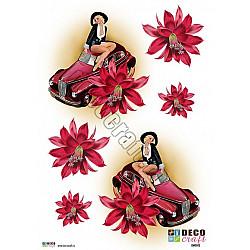 Hartie decoupage A4 - Pin-up, masini si flori
