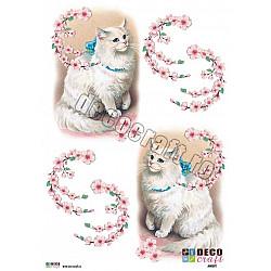 Hartie decoupage A4 - Pisica aristocrata