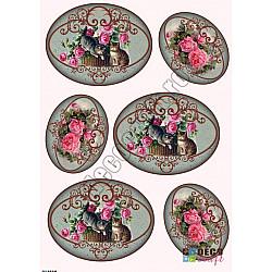 Hartie decoupage A4 - Pisici si trandafiri roz