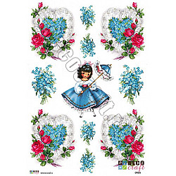 Hartie decoupage A4 - Printesa florilor albastre