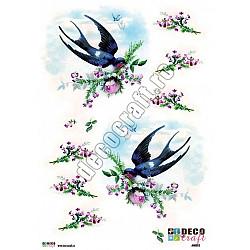 Hartie decoupage A4 - Randunici cu flori
