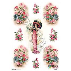 Hartie decoupage A4 - The Lady in Pink