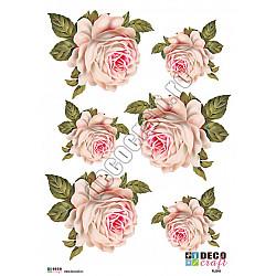 Hartie decoupage A4 - Trandafir alb vintage