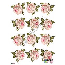 Hartie decoupage A4 - Trandafir alb vintage (mic)