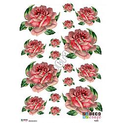 Hartie decoupage A4 - Trandafir roz in stil vintage