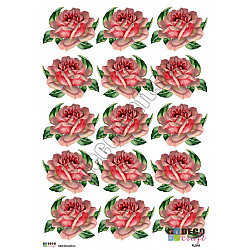 Hartie decoupage A4 - Trandafir roz vintage (mic)