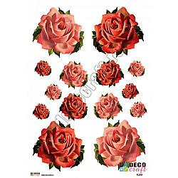 Hartie decoupage A4 - Trandafiri pictati