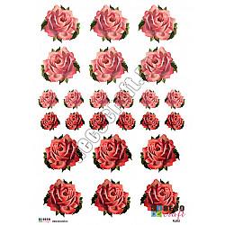Hartie decoupage A4 - Trandafiri pictati (mici)