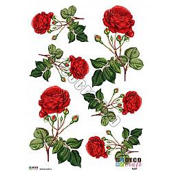Hartie decoupage A4 - Trandafiri rosii