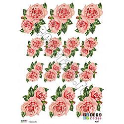 Hartie decoupage A4 - Trandafiri roz mici
