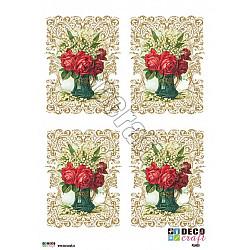 Hartie decoupage A4 - Trandafiri si lacramioare