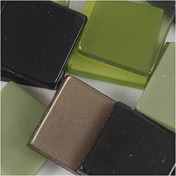 Mini Mosaic - 10x10 mm, grosime 2 mm - nuante de verde, 25g