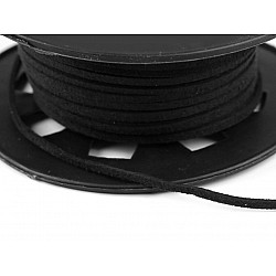 Snur imitatie piele / faux suede, 3mm (rola 30 m) - negru