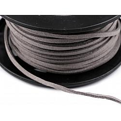 Snur imitatie piele / faux suede, 3mm (rola 30 m) - gri