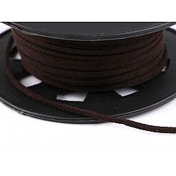 Snur imitatie piele / faux suede, 3mm (rola 30 m) - maro ciocolatiu