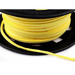 Snur imitatie piele / faux suede, 3mm (rola 30 m) - galben