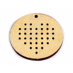 Forme din lemn pentru brodat, Ø45 mm (pachet 5 buc.) - inima natur