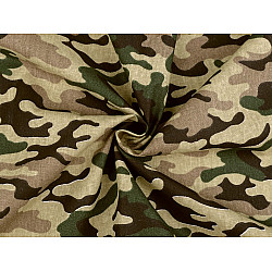 Bumbac imprimat, motiv camuflaj, la metru - verde