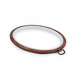 Gherghef / Ramă oval, pentru broderie, 13,5x17,5 cm - maro