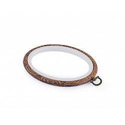 Gherghef / Ramă oval, pentru broderie, 11x13,5 cm - maro
