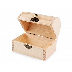 Cutie din lemn natur decorabilă (cufar) - 7.8 x 11.8 x 9 cm