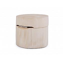 Cutie rotunda din lemn natur, 6.5x8 cm