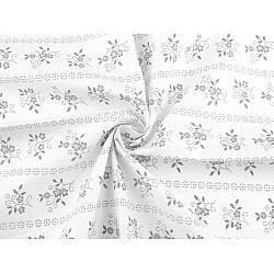 Bumbac imprimat, motiv floral, la metru - alb - gri