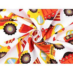Bumbac imprimat, motiv escavatoare, la metru - portocaliu