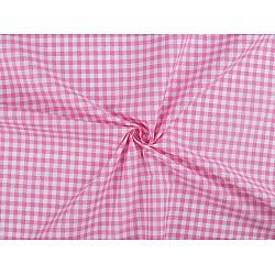 Bumbac imprimat, motiv carouri, la metru - roz mediu
