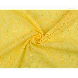 Dantelă din bumbac Madeira cu flori brodate, la metru - galben